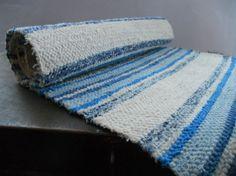 Swedish Vintage Rag rug Woven rag rug Striped blue by TasteVintage, $26.00