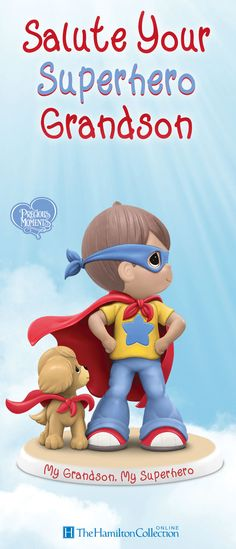 Bold, brave and adventurous, grandsons are ready to take off and save the day at a moment's notice. Now, celebrate your little hero with this limited-edition Precious Moments figurine. Featuring the dynamic duo of a boy and his beloved dog, this figurine is the perfect tribute to your beloved grandson: