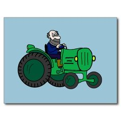 Farmer and Tractor Post Card