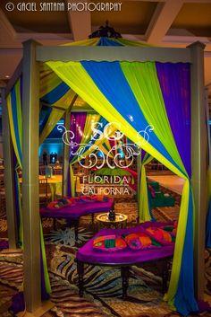 Suhaag Garden, Florida Indian Wedding Decorator, California Indian Wedding Decorator, Colorful Sangeet Decor, Colorful Mehndi Decor, Modern Sangeet Decor, Destination Indian Wedding, Indian Destination Wedding, Outdoor Sangeet Decor, Beachside Sangeet Decor, Bride & Groom Seating