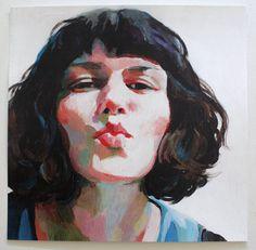 Jenny / Big print -  woman PORTRAIT ART PRINT -This is a print of a acrylic painting , wall art- art decor - woman - white blue lady