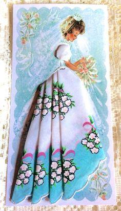 Beautiful Bouquets Bridal Hankie Favor Gift Card - Bridal Wedding Hankies - Roses And Teacups