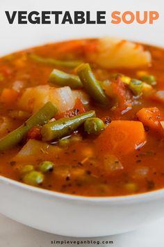 Vegetarian Vegetable Soup, Veggie Soup Recipes, Easy Vegetable Soup, Easy Soup Recipes, Vegetarian Recipes, Cooking Recipes, Healthy Recipes, Vegan Vegetarian, Best Vegetable Soup Recipe