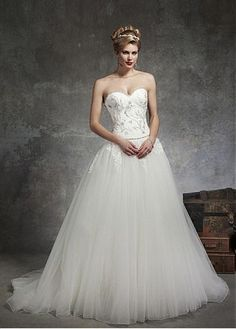 BEAUTIFUL SATIN TULLE BALL GOWN SWEETHEART NECK DROPPED WAISTLINE WEDDING DRESS LACE FORMAL PROM PARTY BALL GOWN