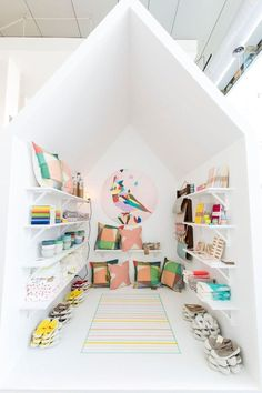 Pin this adorable nook for your kids! House within a house play area--inspired by the display at the Father Rabbit store Auckland NZ. #playroom #forkids #bedroomdecor #bedroom #bedromideas #bedroomdesign #bedroominteriordesign #bedroomhomedecor #decor #homedecor