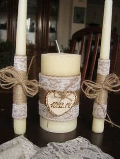 Hey, I found this really awesome Etsy listing at https://www.etsy.com/listing/218980724/wedding-candle-set-of-3-rustic-wedding