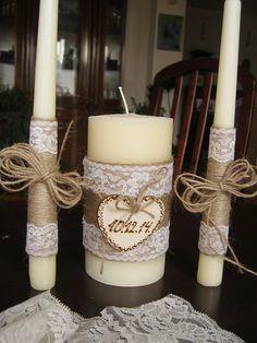 Wedding Candle Set of 3 Rustic wedding von ArtRusticDecoration