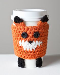 Fox Coffee Cozy gonna make this for my sister--running joke in family with foxes.