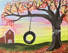 How To Paint Fall Tire Swing So malen Sie Fall Tire Swing – Step by Step Painting Swing Painting, Fall Canvas Painting, Canvas Painting Tutorials, Acrylic Painting For Beginners, Autumn Painting, Step By Step Painting, Beginner Painting, Acrylic Canvas, Diy Painting