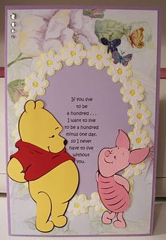 Piglet and Winnie the Pooh Cricut Card Winne The Pooh, Winnie The Pooh Friends, Homemade Birthday Cards, Homemade Cards, Disney Scrapbook Pages, 12x12 Scrapbook, Scrapbooking Ideas, Winnie The Pooh Pictures, Pooh Bear