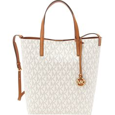 MICHAEL Michael Kors Hayley Large Convertible Tote Tote ($198) ❤ liked on Polyvore featuring bags, handbags, tote bags, designer handbags, white, michael michael kors tote, purse tote, white hand bags, handbags & purses and purse pouch