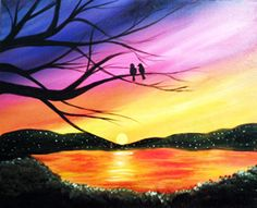 Paint Nite Newyork | 8.2.14 | LIC Queens | The Creek and the Cave | Love Birds | Carlo