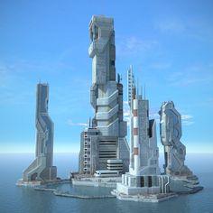 3ds max sci fi futuristic city