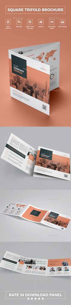 Square Trifold Brochure — Photoshop PSD #statistic #unique • Download ➝ https://graphicriver.net/item/square-trifold-brochure/21591542?ref=pxcr