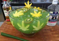 MARIJUANA JUNGLE JUICE BOWL Kiwi Slices Pineapple Slices (shaped like marijuana leaves) 3 oz. (90ml) Bacardi 151 3 oz. (90ml) Everclear 4 oz. (120ml) Coconut Rum 4 oz. (120ml) Melon Liqueur 4 oz. (120ml) Captain Morgan 100 10 oz. (300ml) Pineapple Juice