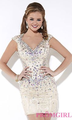 Beaded Open Back Lace Dress by Hannah S at PromGirl.com