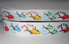 GROSGRAIN ONE FISH TWO FISH DR. SEUSS 7/8 INCH RIBBON*YOUR CHOICE 1,3 or 5 YARDS