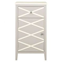 Cabinet with a crisscross motif.   Product: CabinetConstruction Material: Poplar woodColor: Grey and white Features: One drawer and one door Dimensions: 33.4 H x 18 W x 14.9 D