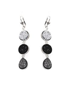 Look at this Silver, Black & Charcoal Druzy Triple-Tier Drop Earrings on #zulily today!