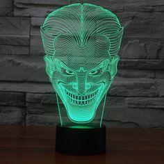 Удивительные 3D Иллюзия светодиодные Настольные Лампы Night Light с форма джокер FS 2832 купить на AliExpress
