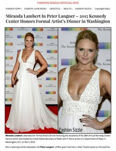 FASHIONSUZZLE.COM - focus on #MirandaLambert look at 2015 Kennedy Center Honors Gala in Washington. Dress: Agata by #PeterLangner