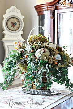 common ground : Fall Home Tour 2016  Love this basket--use this idea for Thanksgiving