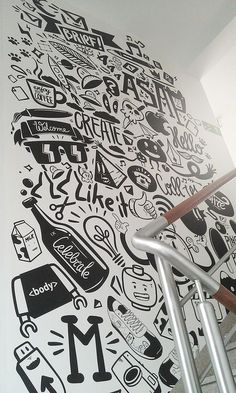Agency life by piotr jakubowski, via behance office wall design, office mural, office Office Mural, Office Wall Art, Office Walls, Office Spaces, Mural Art, Wall Murals, Deco Miami, Decoration Inspiration, Board Decoration