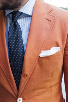 Men's Fashion | Menswear | Men's Outfit for Spring/Summer | Orange Sport Coat, Light Blue Shirt, Navy Necktie | Moda Masculina | Shop at designerclothingfans.com