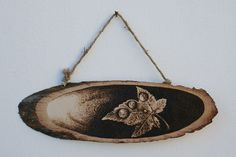 "Pyrography on a wooden slice - ""A Leaf and Rain Droplets"" - Wood burning by SantoArt on Etsy"