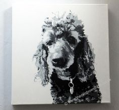 "Poodle Pet portrait Acrylic on 16""x16"" canvas by Emma Giles, commissions taken. www.therainbowstudio.co.uk"