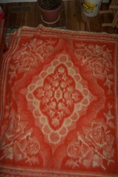 Vintage Very Thick & Heavy Holland Tetem Zuiverwol Orange Wool Blanket 83 X 69