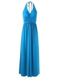 Halter Empire Waist Maxi Dress - BLUE 2XL
