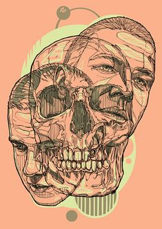 Fantastic Line Illustrations by Rustam QBic Salemgaraev {male face portraits skull}