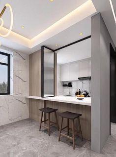 Small House Interior Design, Small Room Design Bedroom, Modern Small House Design, Kitchen Room Design, Home Room Design, Modern Kitchen Design, Home Decor Kitchen, Interior Design Living Room, Kitchen Ceiling Design