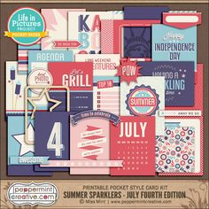LIP Card Mini Collection: Summer Sparklers - July Fourth - $7.95 : Peppermint Creative, Digital Scrapbook Supplies