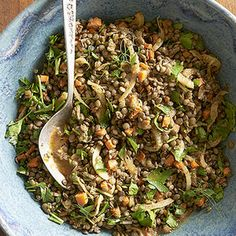 Caramelized Veggie Lentil Salad Recipe with fennel bulb, carrots, unsalted butter, French lentils, garlic, bay leaves, reduced sodium chicken broth, salt, Italian parsley leaves, shallots, sage, extra-virgin olive oil, dijon style mustard, balsamic vinegar, honey