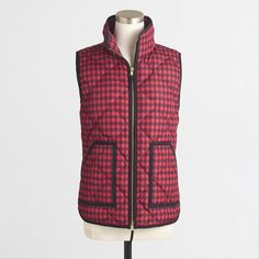 New J. Crew Excursion Vest In Gingham Red