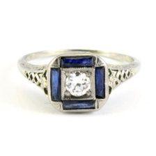 18K Antique Art Deco Diamond Saphire Vintage