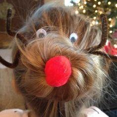 Here's how to do this Christmas Reindeer Sock Bun hair. Too cute!