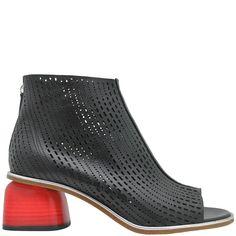 Halmanera Black Laser/Red Heel Back Zip Bootie Billie