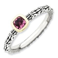 Sterling Silver & 14k Stackable Expressions Checker-cut P. Tourmaline Antiq