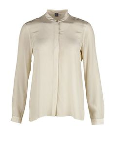 Silke skjorte med knaplukning - creme str. 40/L