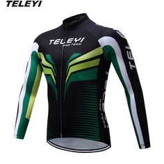TELEYI Black Green Bike jersey Men Cycling clothing Male MTB Ropa Ciclismo Maillot Long Sleeve Shirts Riding blouse for Spring  #Affiliate