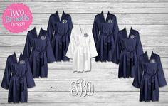 BRIDESMAID ROBES  Bridesmaid Satin Robes Navy Blue Satin