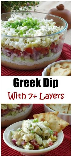 Easy 7 Layer Greek Dip Recipe with hummus and Tzatziki sauce and feta cheese! Plus ideas to stack it even taller!