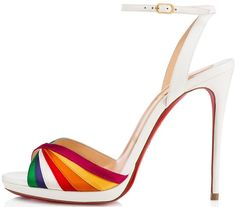 Rainbow satin stripes crisscross at the toe of a vintage-chic Italian sandal fashioned with a leg-lengthening stiletto heel