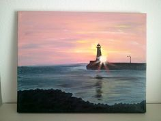 Sunset Lighthouse canvas painting. $25.00, via Etsy. https://www.etsy.com/shop/SoulShineWallArt