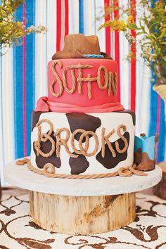 Western cake....rope letters. #BirthdayCake