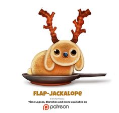 His bacon antlers 😍 Daily Flap-Jackalope by Cryptid-Creations Cute Food Drawings, Cute Animal Drawings, Kawaii Drawings, Animal Puns, Animal Food, Cute Puns, Funny Puns, Dibujos Cute, Kawaii Art
