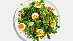Whole Grain Salad with Jammy Eggs and Shallot Yogurt Recipe Yogurt Recipes, Egg Recipes, Brunch Recipes, Healthy Dinner Recipes, Vegetarian Entrees, Summer Salad Recipes, Easy Salad Recipes, Summer Salads, Healthy Summer